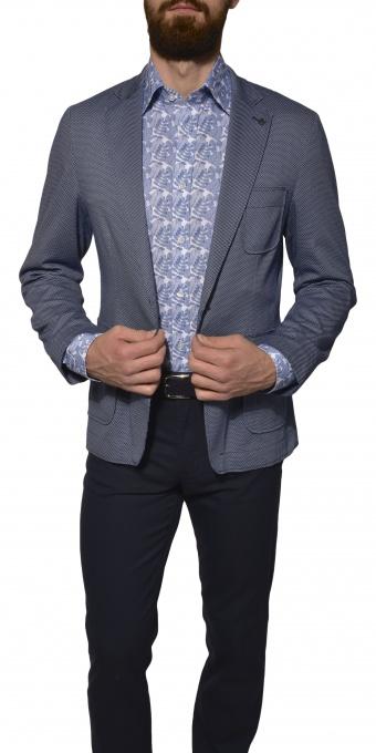 Šedo-modré Basic bavlnené sako