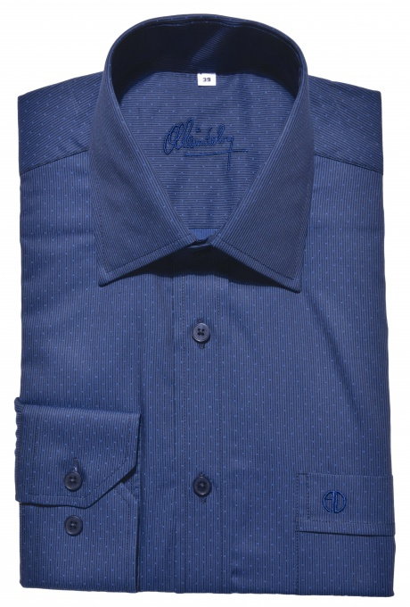 Casual dark blue Slim Fit shirt