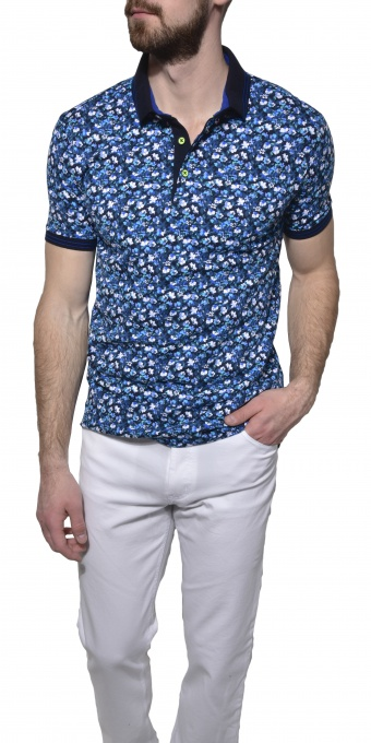Blue flowered piqué polo shirt