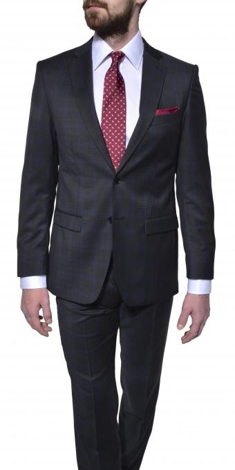 Čierny vlnený károvaný oblek