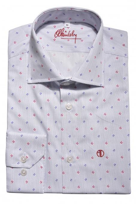 Biela Extra Slim Fit košeľa s jemným printom