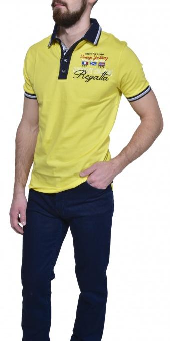 Yellow piqué polo shirt