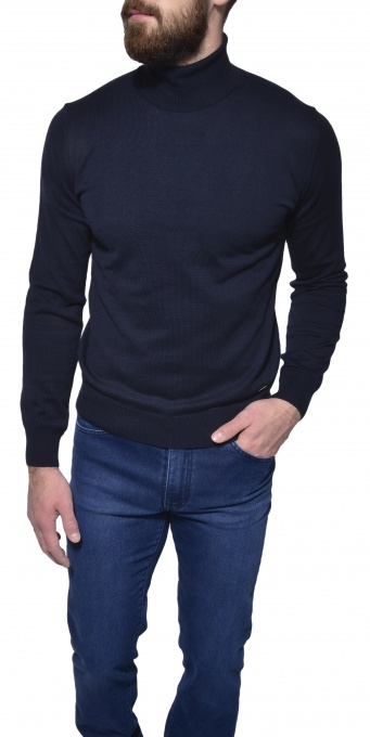 Dark blue turtleneck