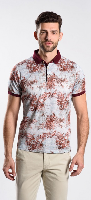 Burgundy patterned polo shirt