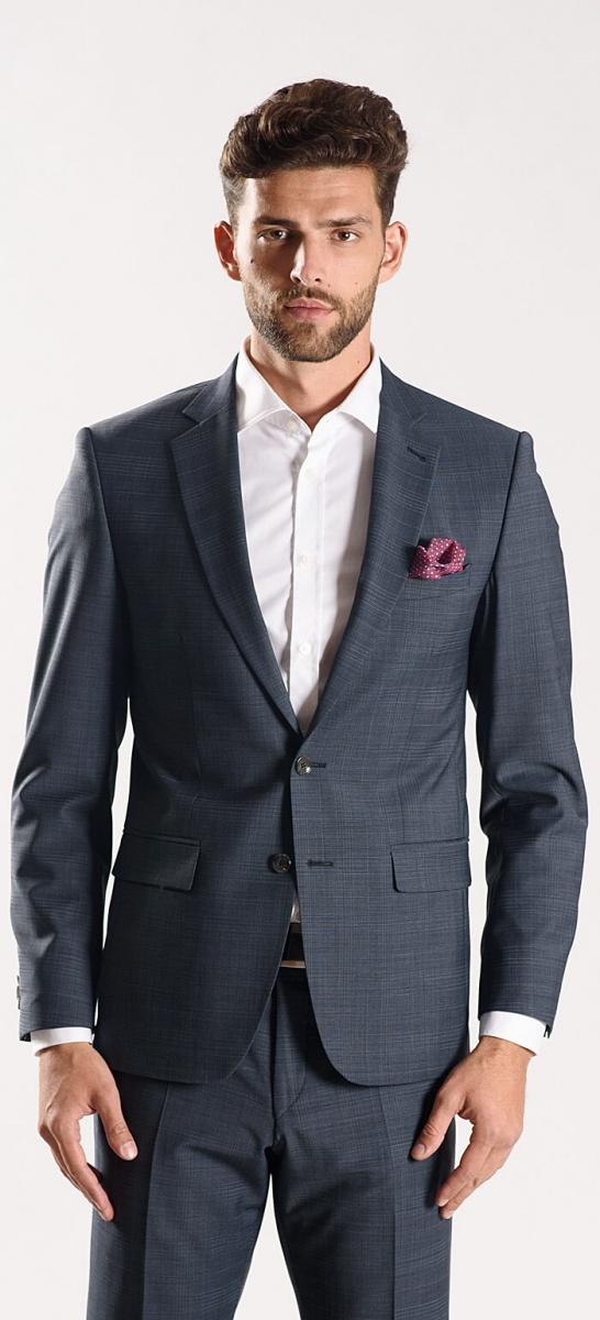 Sivý károvaný Slim Fit oblek