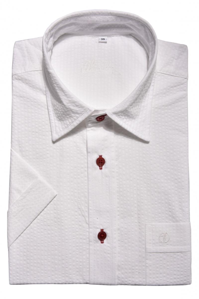 Biela krepová Slim Fit košeľa s krátkym rukávom