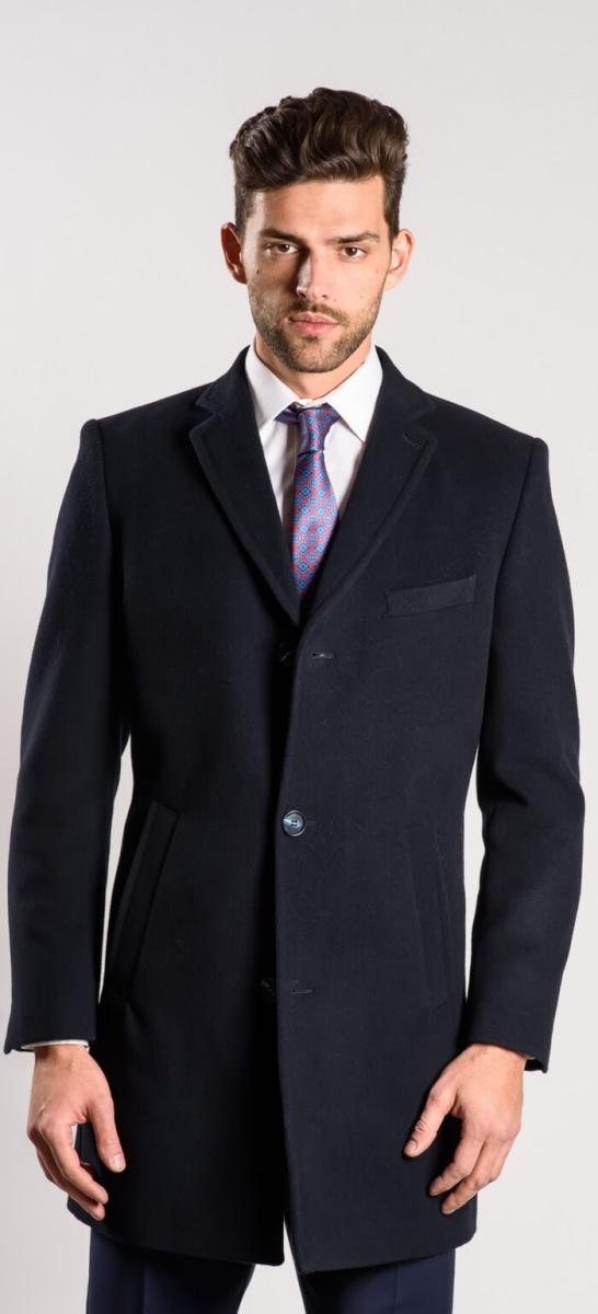 Tmavomodrý flaušový kabát