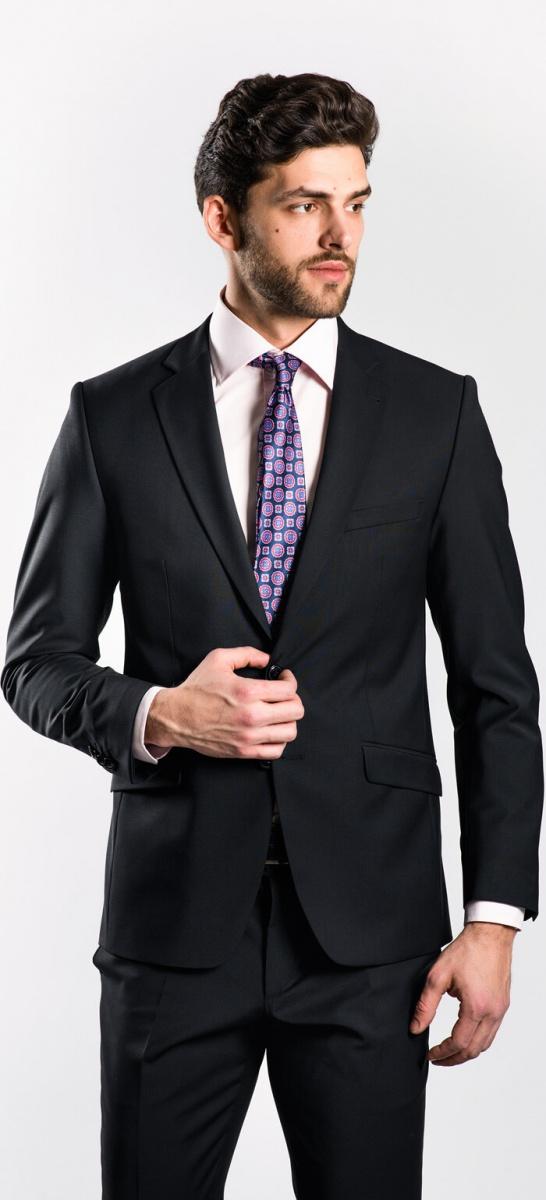 Čierny Slim Fit oblek XL