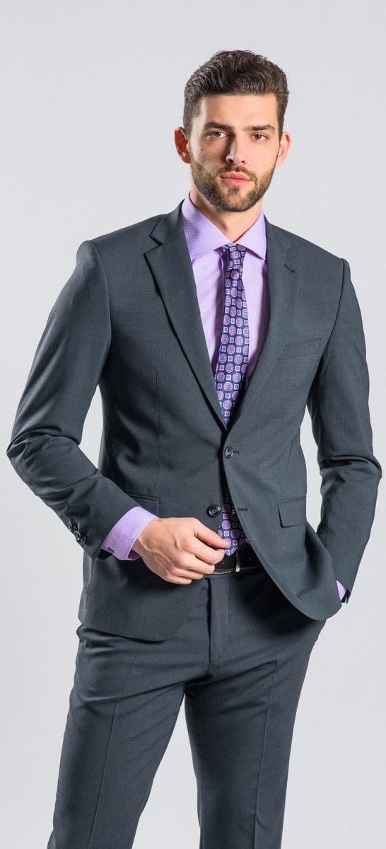 Šedý Slim Fit oblek XL