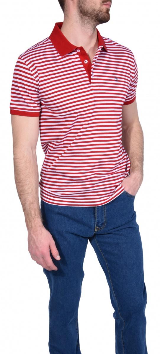 Striped piqué polo shirt