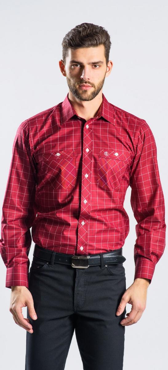 Červená károvaná Slim Fit košeľa rady Basic