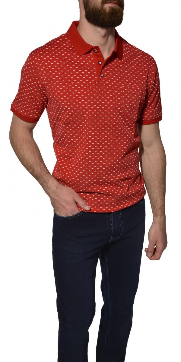 Červená vzorovaná piqué polokošeľa