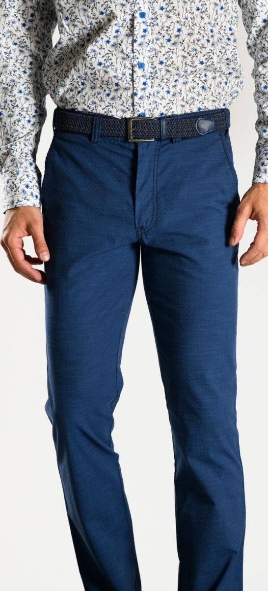 Tmavomodré bavlnené chinos nohavice