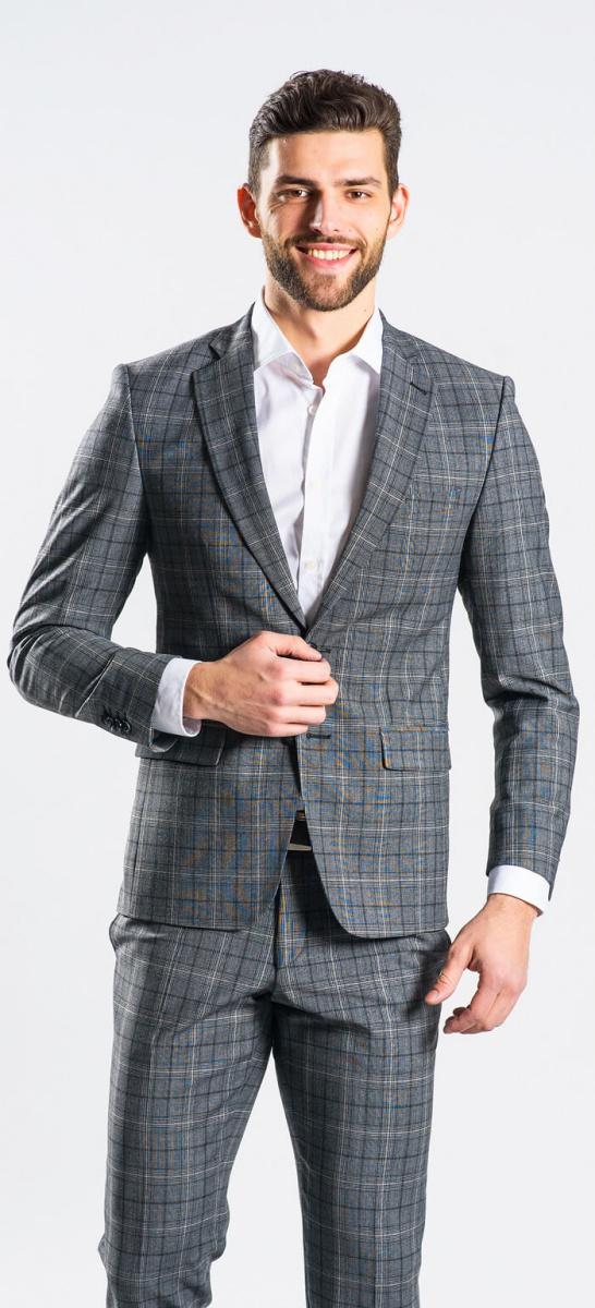 Šedý károvaný Slim Fit oblek