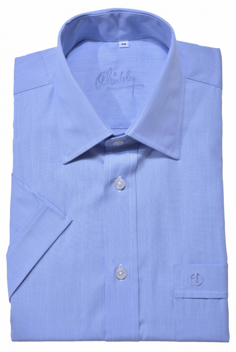 Blue short sleeved Slim Fit shirt
