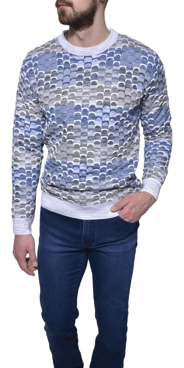 Šedo - modrý voľnočasový pulóver