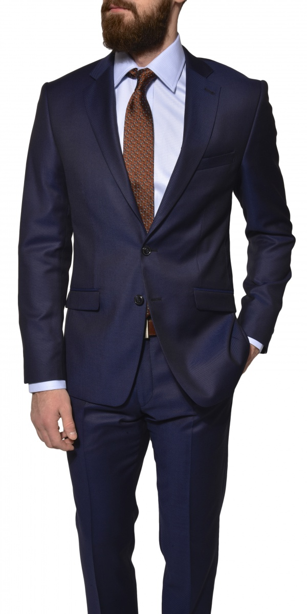 LIMITED EDITION Tmavomodrý vlneno-hodvábny oblek