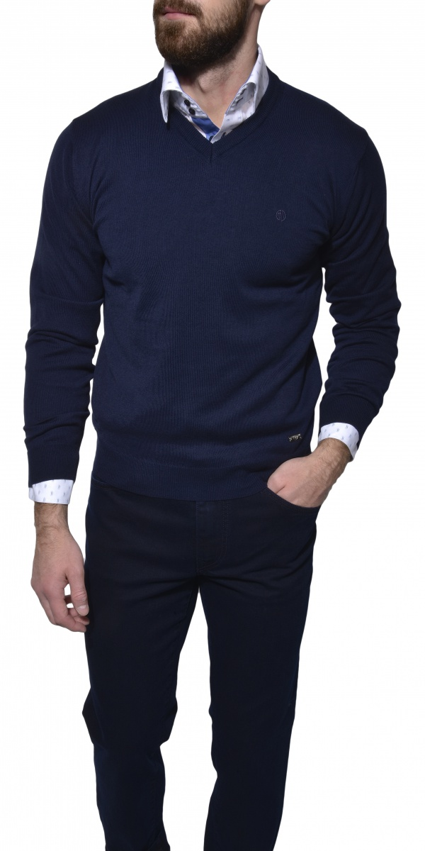 Dark blue cotton v-neck