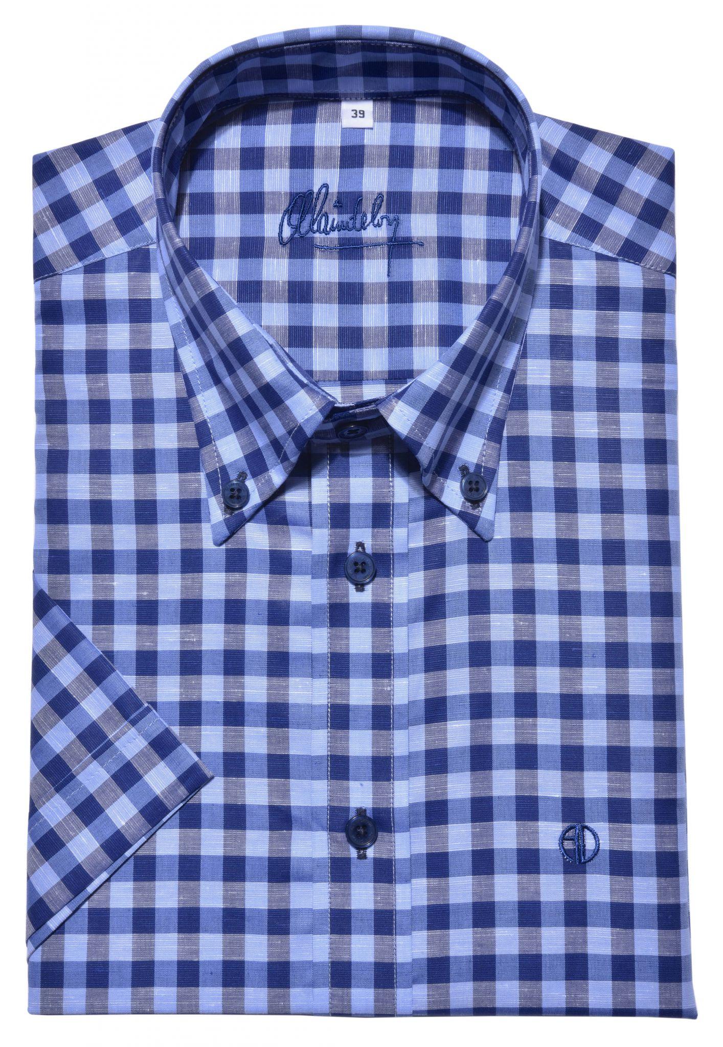 e7fa2057a441 Modrá károvaná Slim Fit košeľa s krátkym rukávom - Košele krátky ...