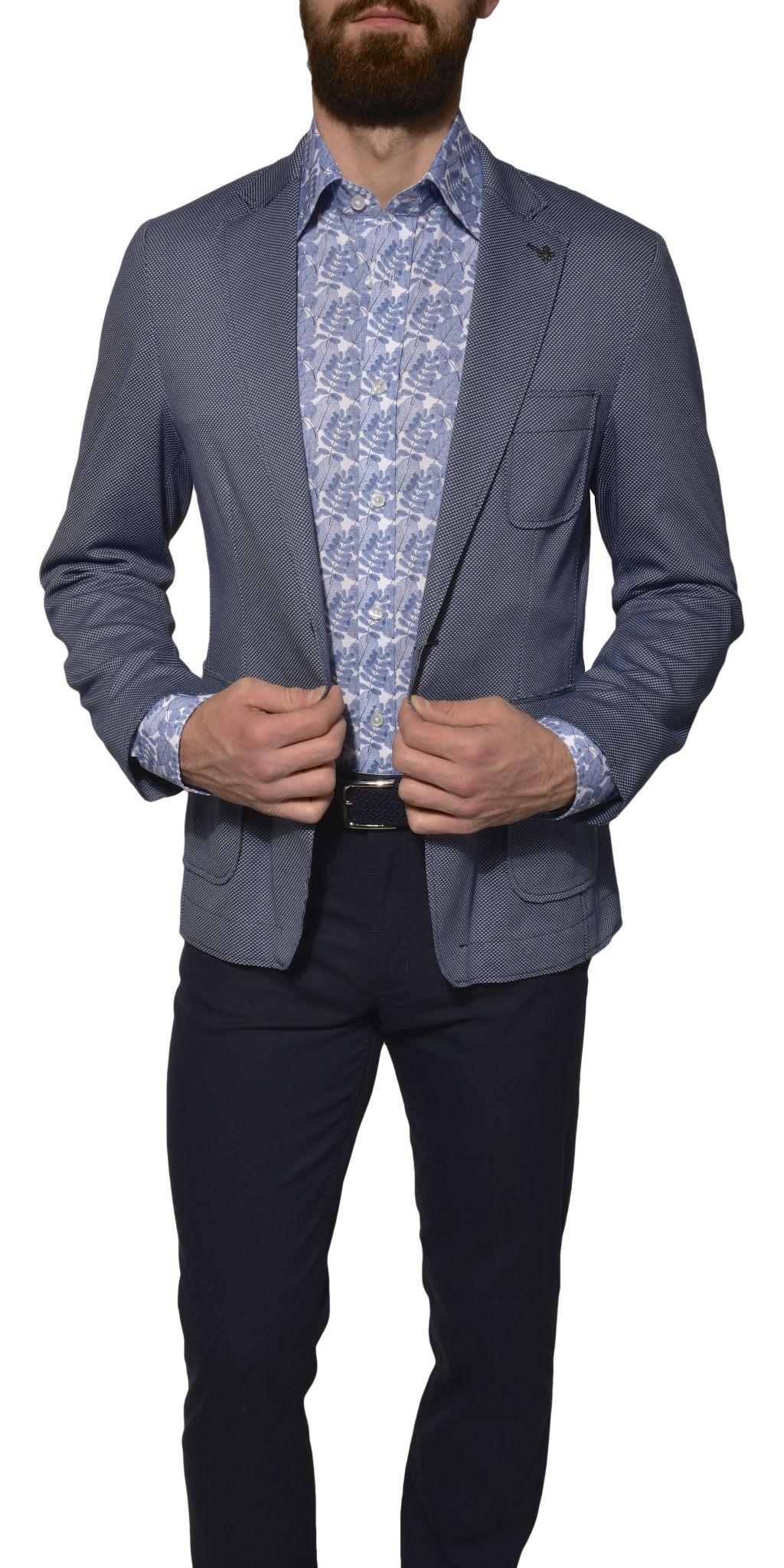 1dad0e2ff9 Šedo-modré Basic bavlnené sako - Saká - E-shop